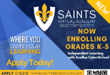 Saints Virtual Academy K-5 Independent Virtual Learning
