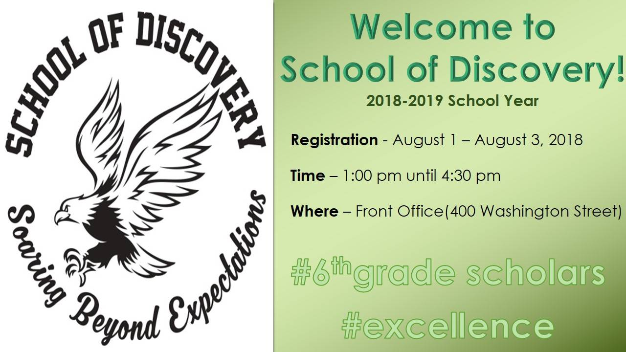 School Of Discovery Registration 2018-2019