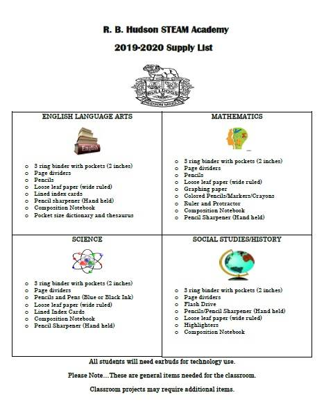 R. B. Hudson School Supply List 2019