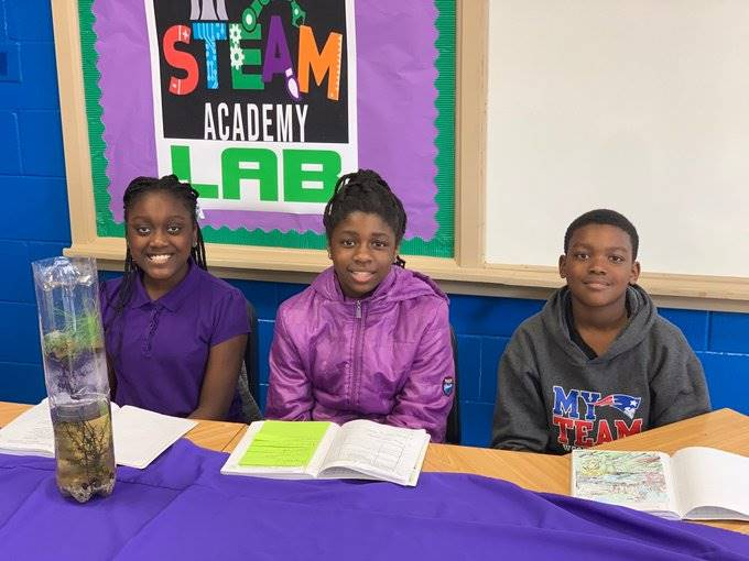 The Clark scholars demonstrate a STEAM Science Challenge.