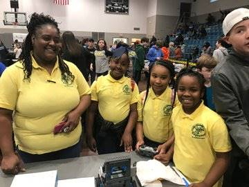 Edgewood Busy Bees Robotics Team with Coach Moreland